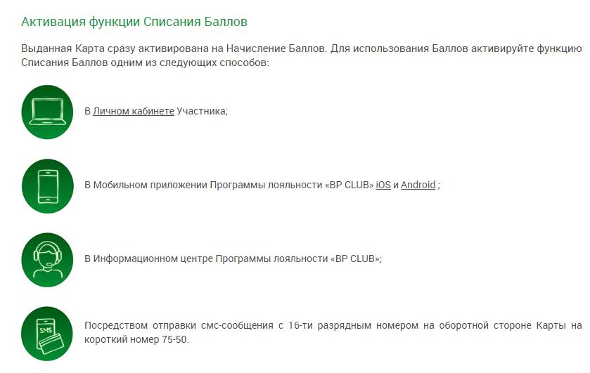 Активация карты BP CLUB