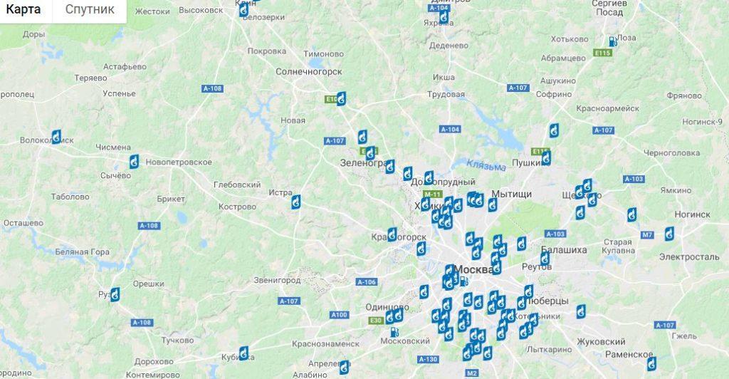 Карта автозаправочных станций Газпромнефть
