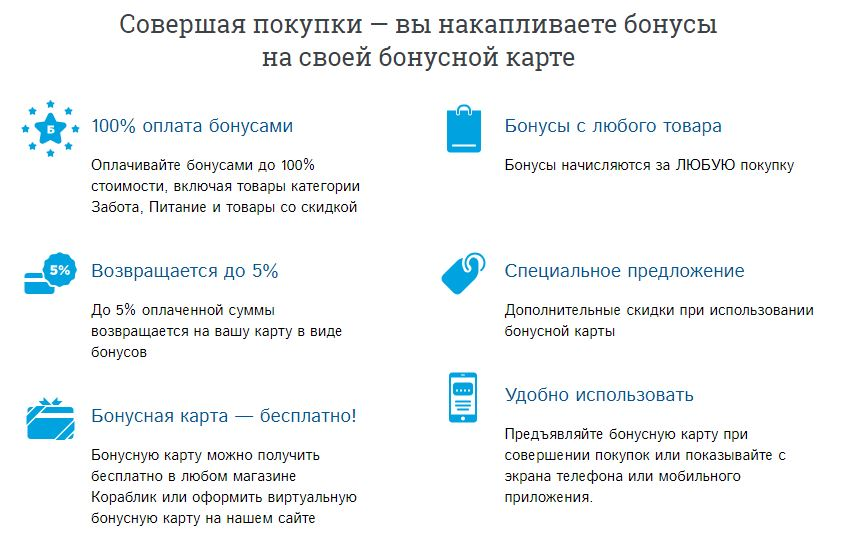 Возможности бонусной карты сети детских магазинов Кораблик