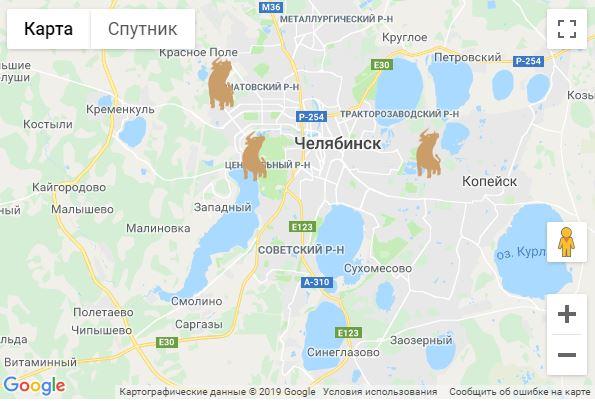 """Расположение магазинов сети """"Уральская фабрика мяса"""""""